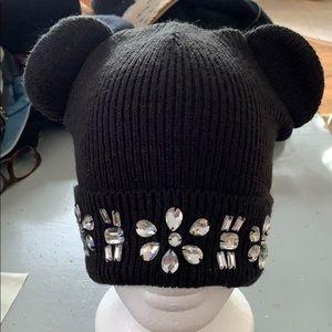 Black skull cap w/ glass beads & round ears